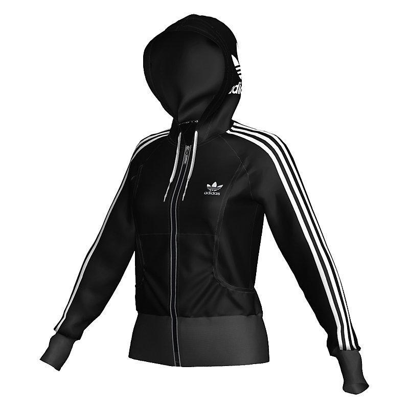 neu adidas s logo girl zip hoodie schwarz damen jacke ebay. Black Bedroom Furniture Sets. Home Design Ideas
