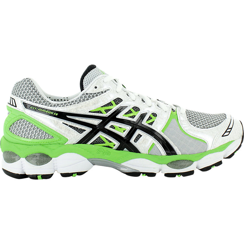 new asics gel nimbus 14 mens neutral running shoes running shoes white green ebay. Black Bedroom Furniture Sets. Home Design Ideas