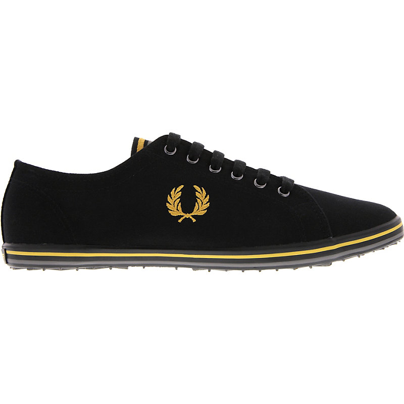 NEU-Fred-Perry-Kingston-Twill-Tipped-Herrenschuhe-Sneaker-Schwarz