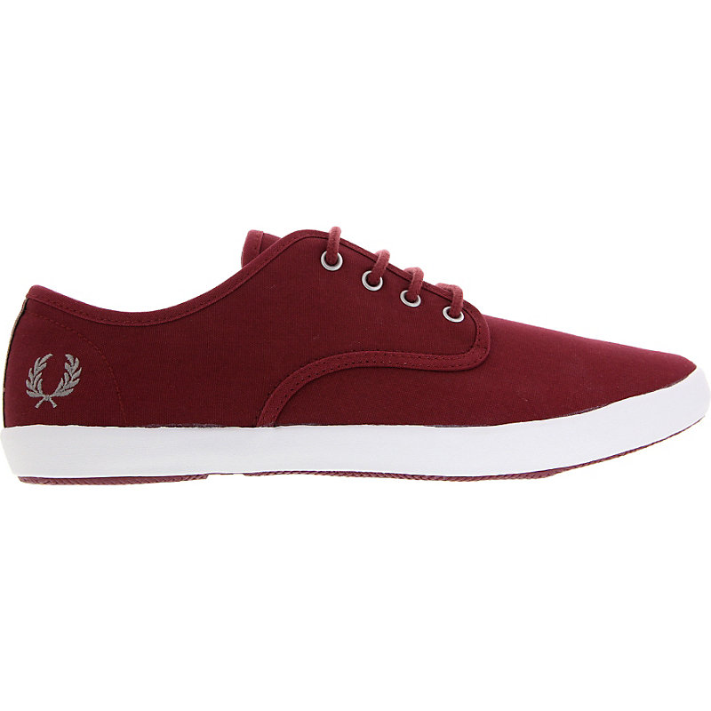 NEU-Fred-Perry-Fox-Canvas-Herrenschuhe-Sneaker-Rot