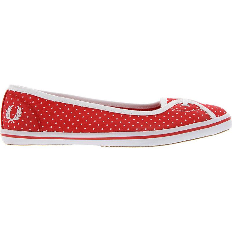 NEU-Fred-Perry-Jet-Polka-Dot-Print-Damenschuhe-Sneaker-Rot