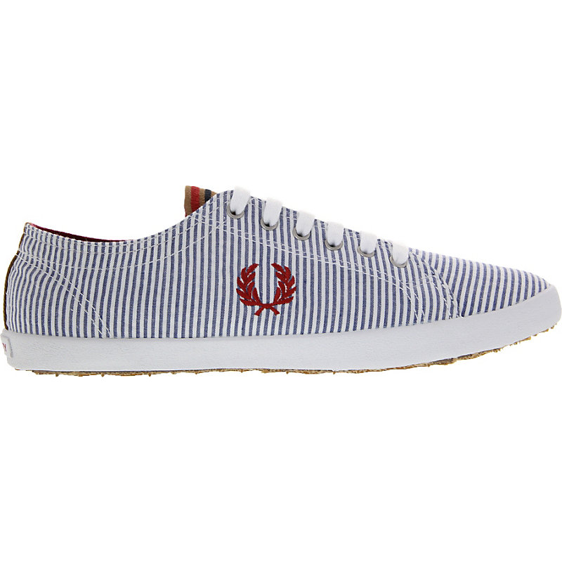 NEU-Fred-Perry-Kingston-Seersucker-Herrenschuhe-Sneaker-Blau