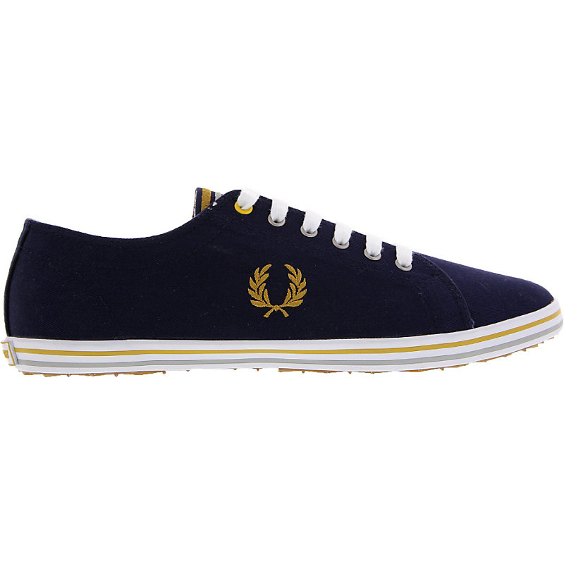 NEU-Fred-Perry-Kingston-Twill-Tipped-Herrenschuhe-Sneaker-Blau