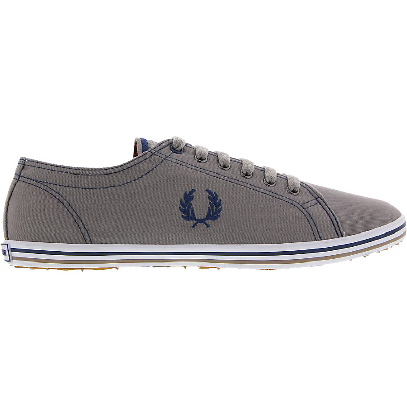 NEU-Fred-Perry-Kingston-Twill-Tipped-Herrenschuhe-Sneaker-Grau