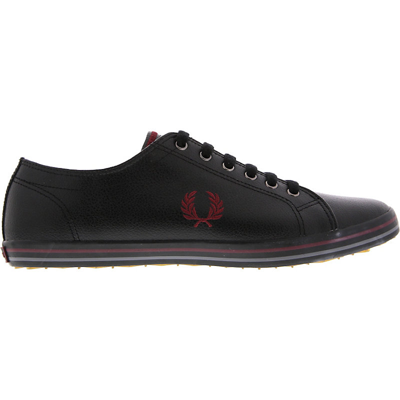 NEU-Fred-Perry-Kingston-Leather-Herrenschuhe-Sneaker-Schwarz