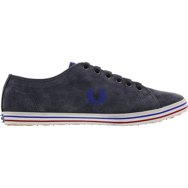 NEU-Fred-Perry-Kingston-Suede-Herrenschuhe-Sneaker-Grau