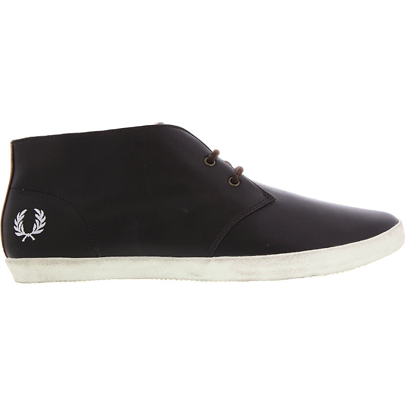 NEU-Fred-Perry-Byron-Leather-FUR-Herrenschuhe-Sneaker-Braun