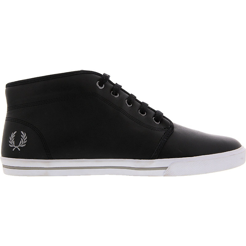 NEU-Fred-Perry-Fletcher-Leather-Fur-Herrenschuhe-Sneaker-Schwarz
