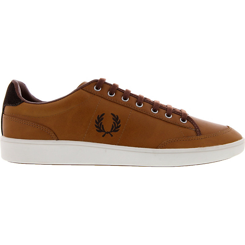 NEU-Fred-Perry-Hopman-Leather-Herrenschuhe-Sneaker-Braun