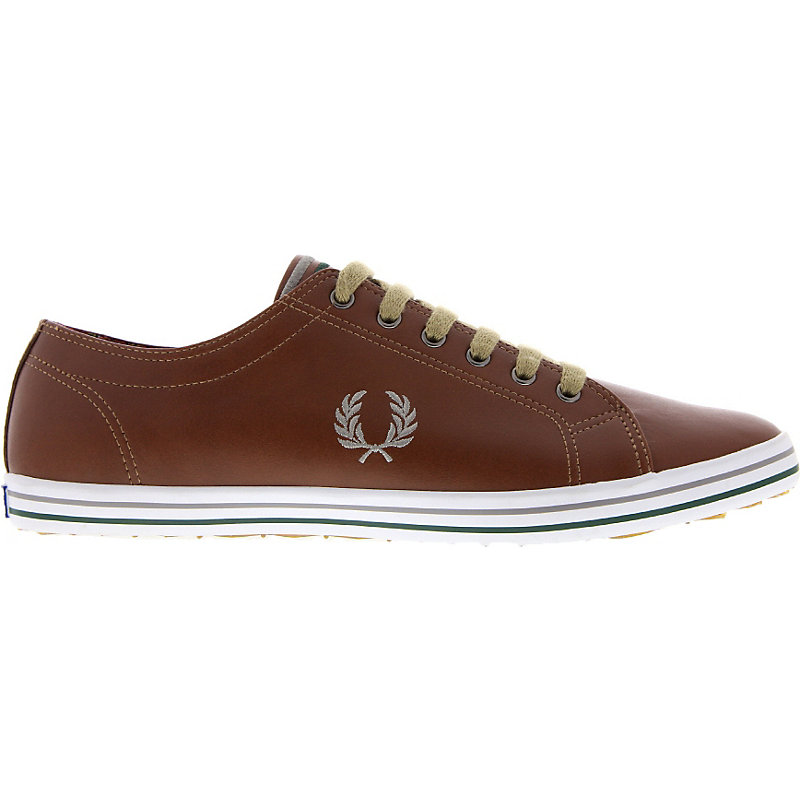 NEU-Fred-Perry-Kingston-Leather-Herrenschuhe-Sneaker-Braun