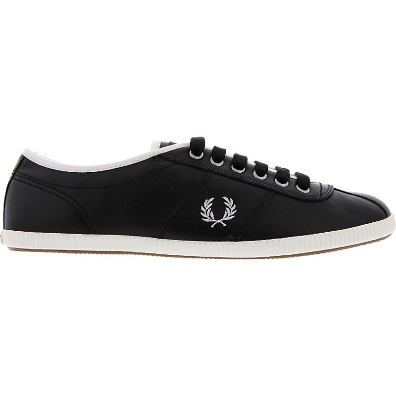 NEU-Fred-Perry-Hayes-Unlined-Leather-Herren-Sneaker-Schwarz