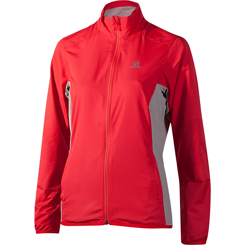 NEU-Salomon-Start-Jacket-Damen-Joggingjacke-Rot